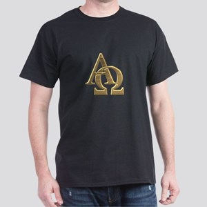 """3-D"" Golden Alpha and Omega Symbol Dark T-Shirt"