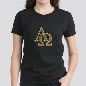 """3-D"" Golden Alpha and Omega Symbol Women's Dark T"