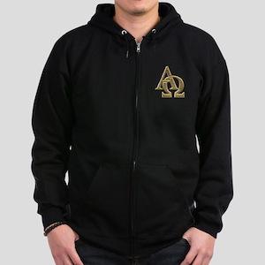 """3-D"" Golden Alpha and Omega Symbol Zip Hoodie (da"