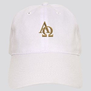 """3-D"" Golden Alpha and Omega Symbol Cap"