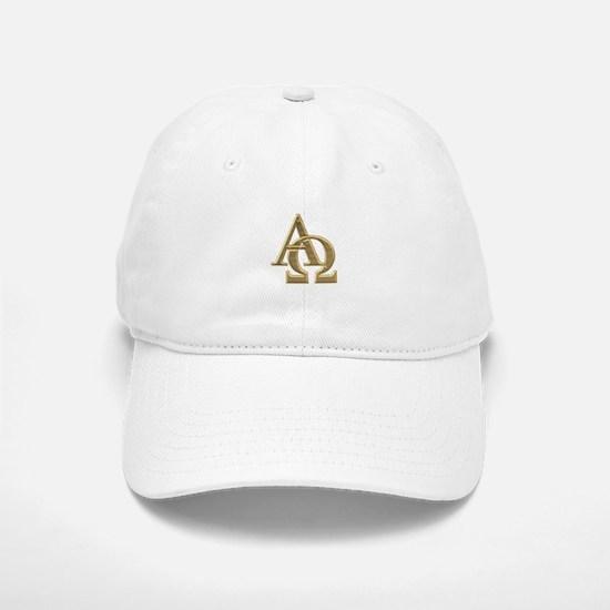 """3-D"" Golden Alpha and Omega Symbol Baseball Baseball Cap"