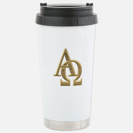 """""""3-D"""" Golden Alpha and Omega Symbol Stainless Stee"""