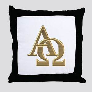 """3-D"" Golden Alpha and Omega Symbol Throw Pillow"