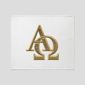 """""""3-D"""" Golden Alpha and Omega Symbol Throw Blanket"""