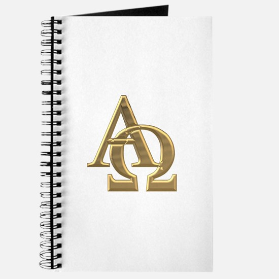 """3-D"" Golden Alpha and Omega Symbol Journal"