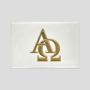 """""""3-D"""" Golden Alpha and Omega Symbol Rectangle Magn"""