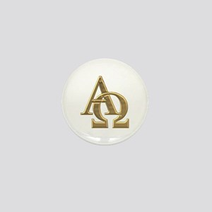 """3-D"" Golden Alpha and Omega Symbol Mini Button"