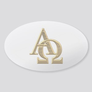 """3-D"" Golden Alpha and Omega Symbol Sticker (Oval)"