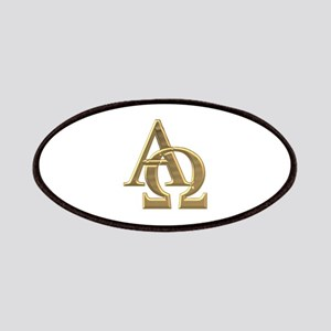 """3-D"" Golden Alpha and Omega Symbol Patches"