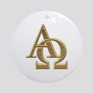 """3-D"" Golden Alpha and Omega Symbol Ornament (Roun"