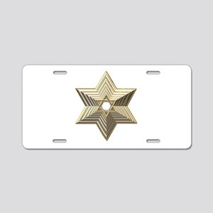3-D Silver and Gold Star of David Aluminum License