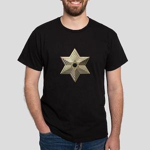 3-D Silver and Gold Star of David Dark T-Shirt