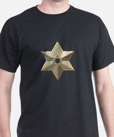 3-D Silver and Gold Star of David T-Shirt