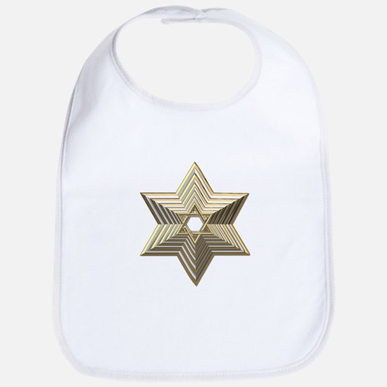3-D Silver and Gold Star of David Bib
