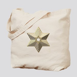 3-D Silver and Gold Star of David Tote Bag