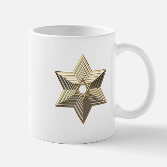3-D Silver and Gold Star of David Mug