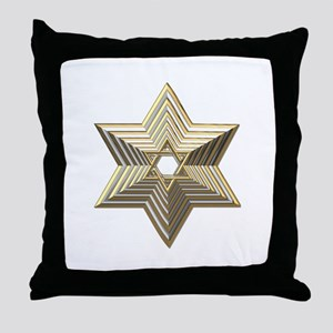 3-D Silver and Gold Star of David Throw Pillow