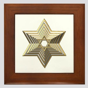 3-D Silver and Gold Star of David Framed Tile