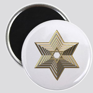3-D Silver and Gold Star of David Magnet