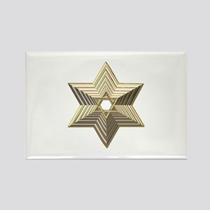 3-D Silver and Gold Star of David Rectangle Magnet