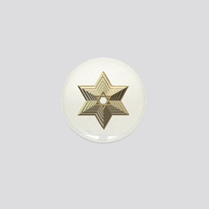 3-D Silver and Gold Star of David Mini Button
