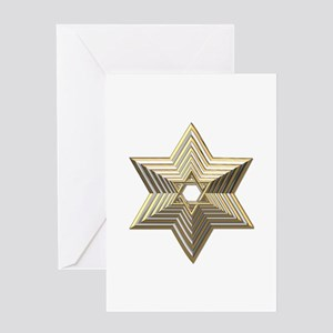 3-D Silver and Gold Star of David Greeting Card