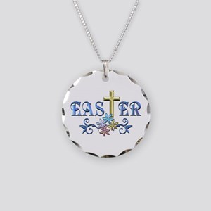 Easter Cross Necklace Circle Charm