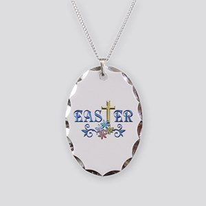 Easter Cross Necklace Oval Charm