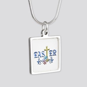 Easter Cross Silver Square Necklace