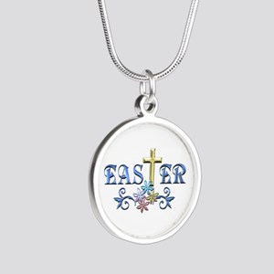 Easter Cross Silver Round Necklace
