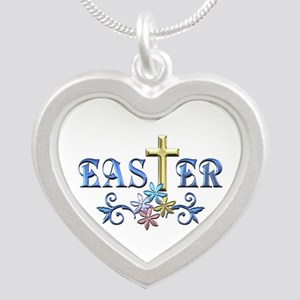Easter Cross Silver Heart Necklace