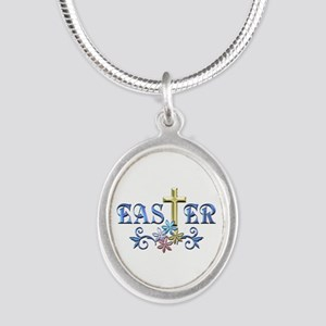 Easter Cross Silver Oval Necklace
