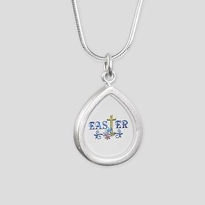 Easter Cross Silver Teardrop Necklace
