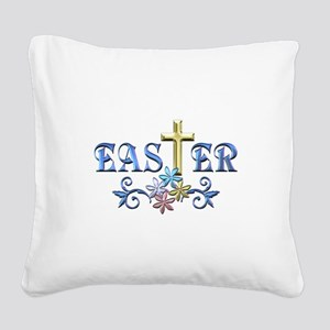 Easter Cross Square Canvas Pillow