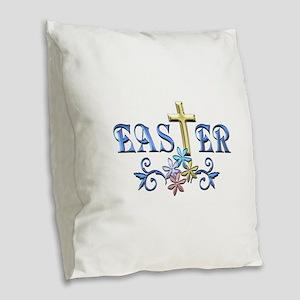 Easter Cross Burlap Throw Pillow