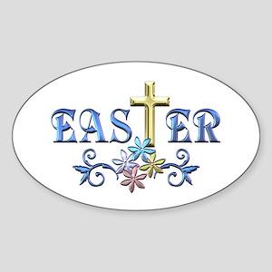 Easter Cross Sticker (Oval)