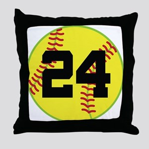 Softball Sports Player Number 24 Throw Pillow