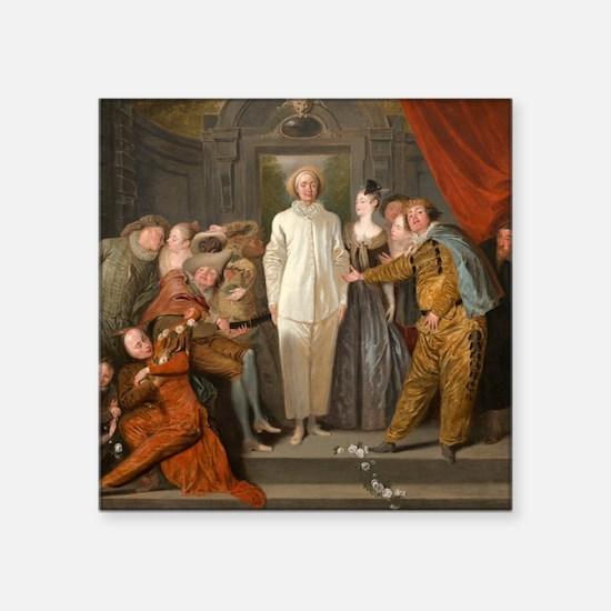"""Antoine Watteau - The Itali Square Sticker 3"""" x 3"""""""