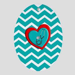 Nurse Medical Chevron Blue Ornament (Oval)
