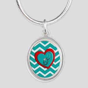 Nurse Medical Chevron Blue Necklaces