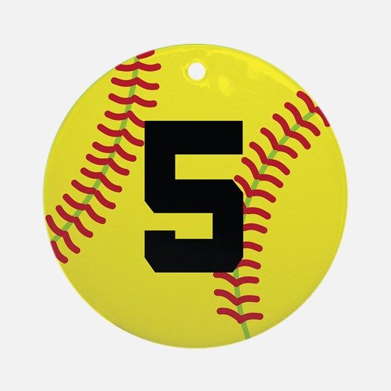 Softball Sports Player Number 5 Ornament (Round)