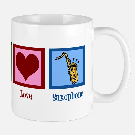 Peace Love Saxophones Mug