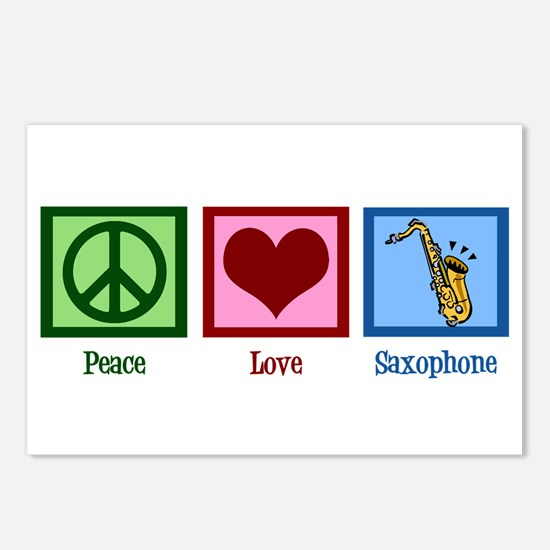 Peace Love Saxophones Postcards (Package of 8)