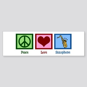 Peace Love Saxophones Sticker (Bumper)
