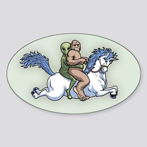 Bigfoot Alien Unicorn Sticker (Oval)