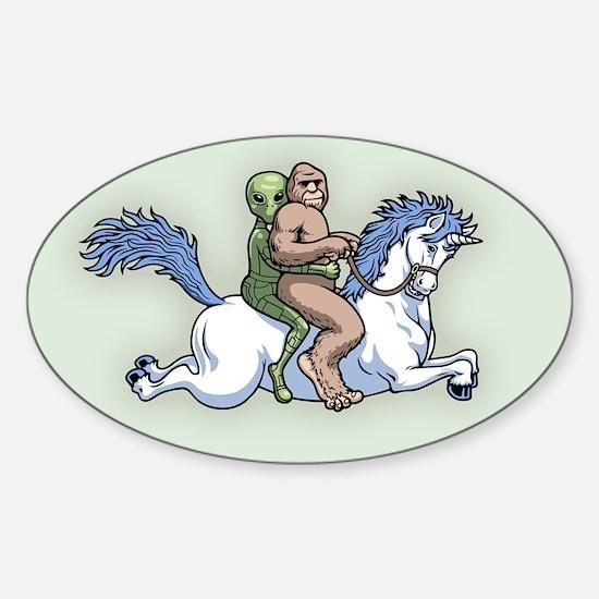 Bigfoot Alien Unicorn Sticker (Oval)
