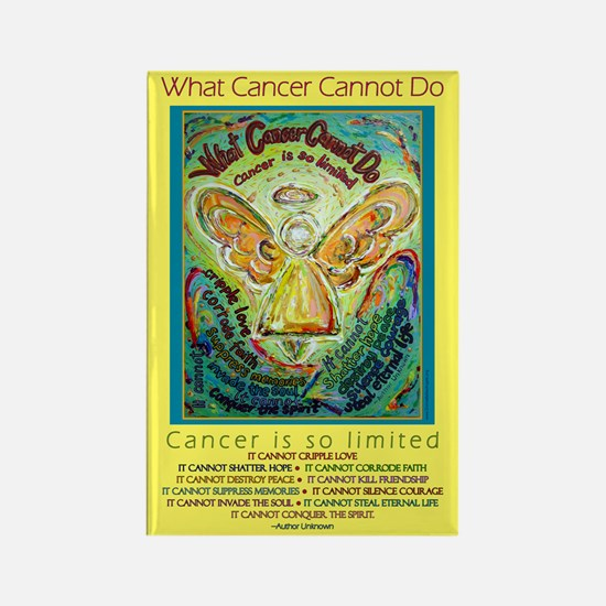 Rainbow Cancer Angel Rectangle Magnet