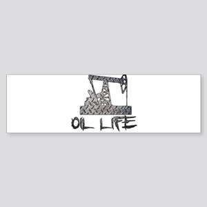 Diamond Plate Oil Life Pumpjack Bumper Sticker