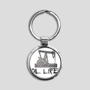 Diamond Plate Oil Life Pumpjack Keychains
