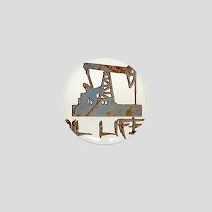 Oil Life Pumpjack Rusty Metal Mini Button